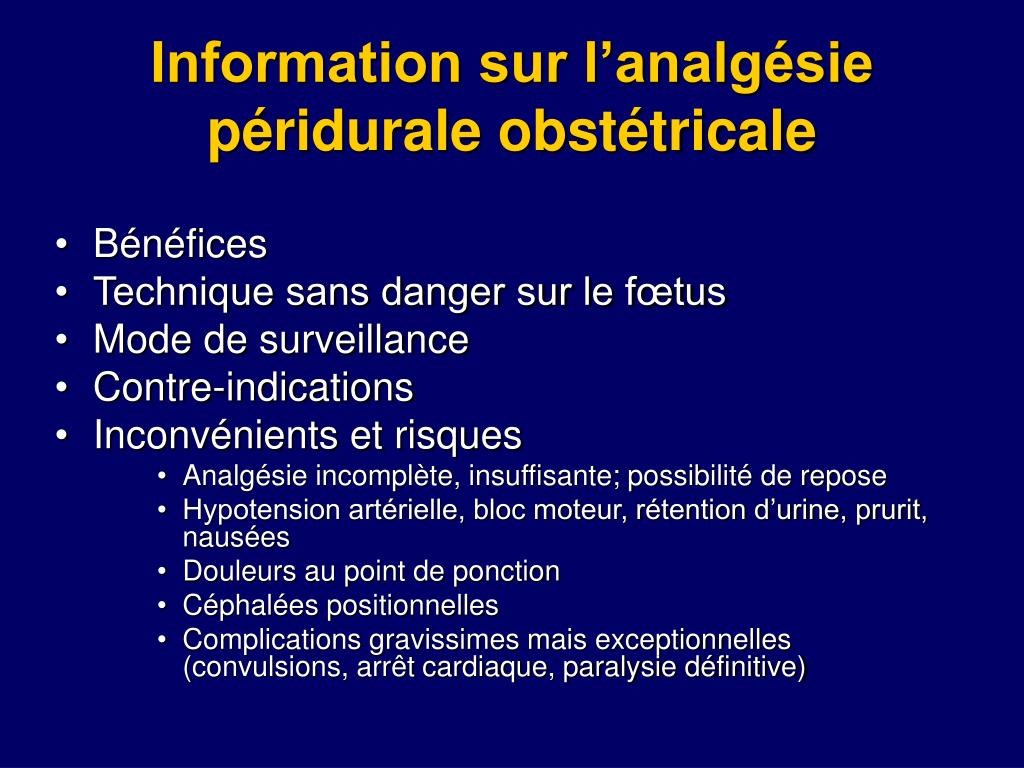 Information sur l'analgésie péridurale obstétricale