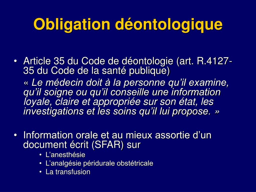Obligation déontologique