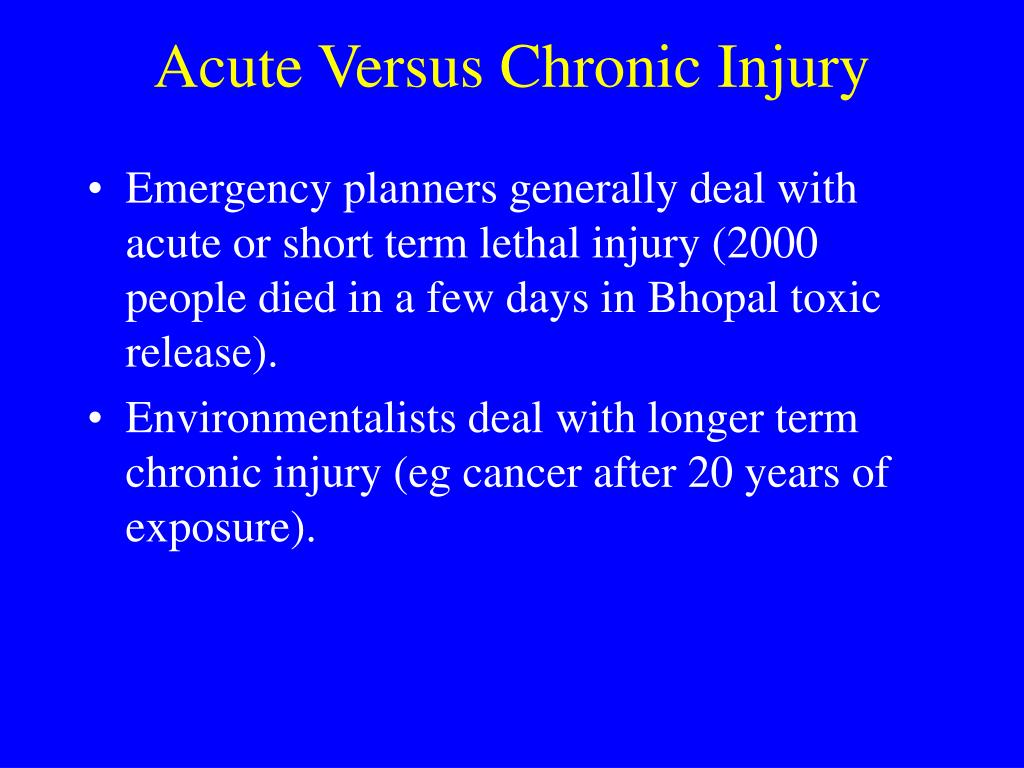 Acute Versus Chronic Injury
