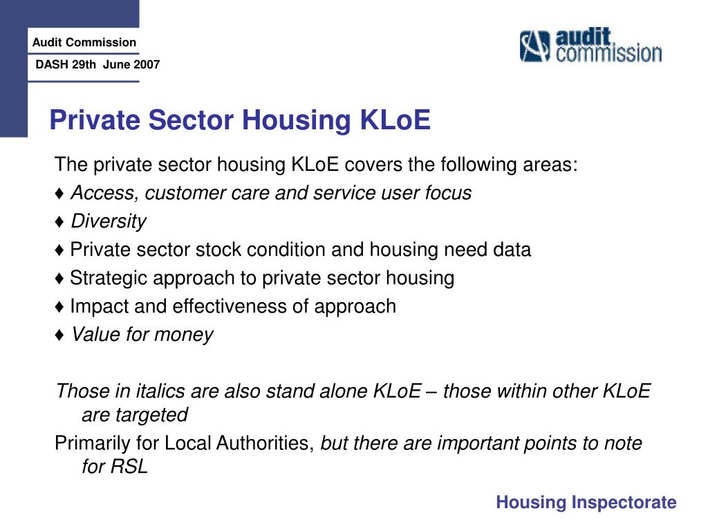 Private Sector Housing KLoE