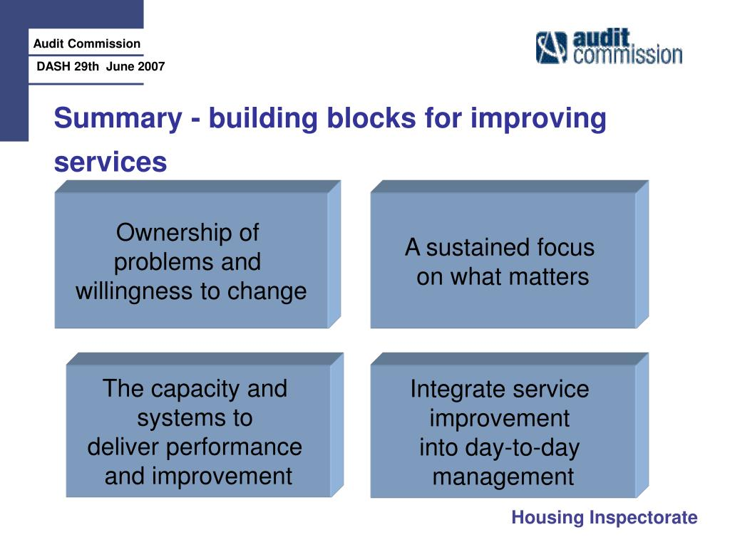 Summary - building blocks for improving services