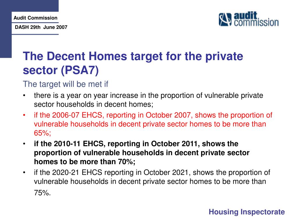 The Decent Homes target for the private sector (PSA7)