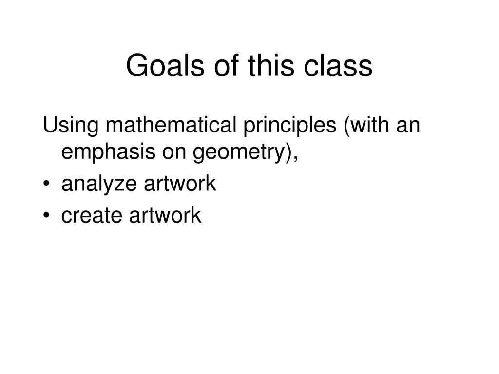Goals of this class