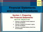 financial statements and closing procedures