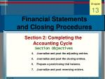 financial statements and closing procedures26