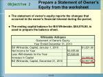 prepare a statement of owner s equity from the worksheet