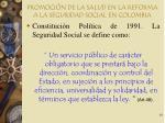 promoci n de la salud en la reforma a la seguridad social en colombia