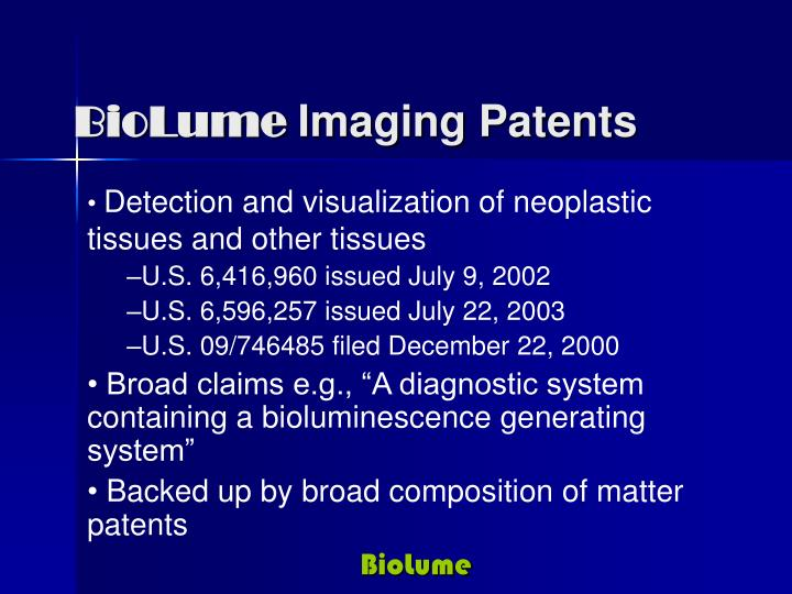 Biolume imaging patents