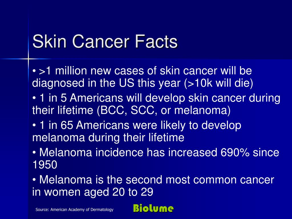 >1 million new cases of skin cancer will be diagnosed in the US this year (>10k will die)