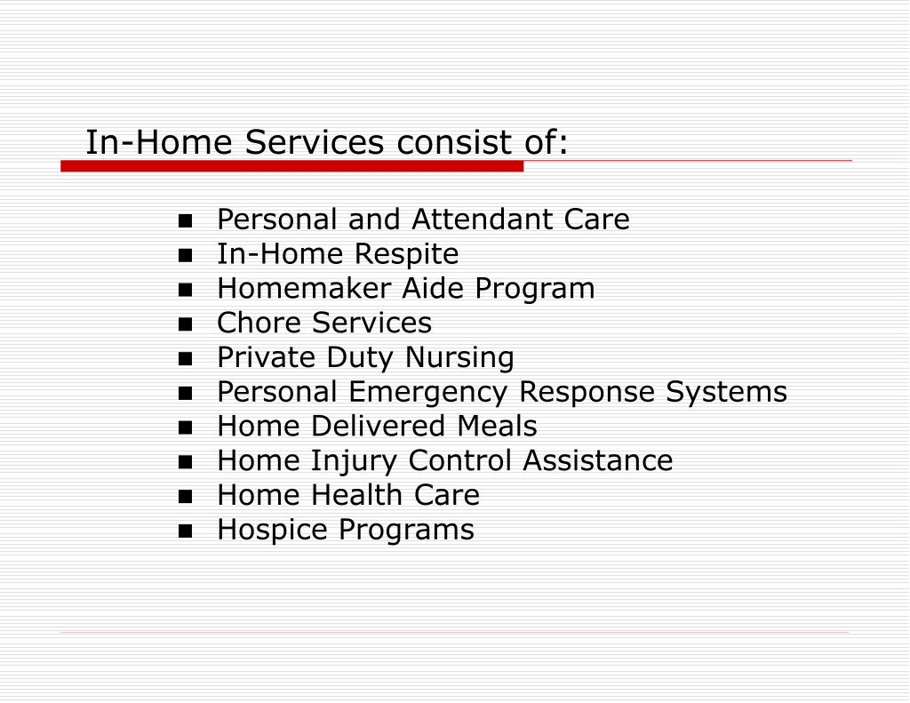 In-Home Services consist of: