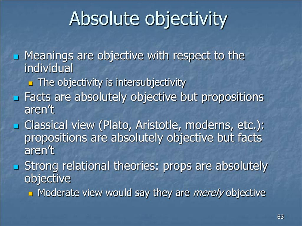 Absolute objectivity