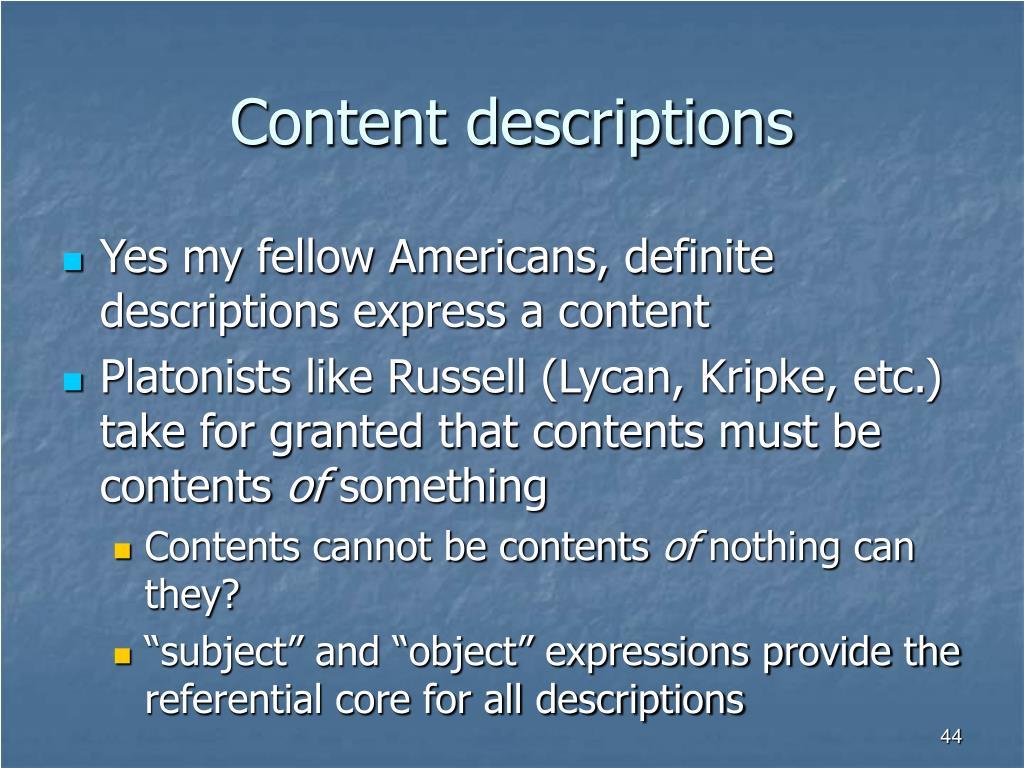 Content descriptions