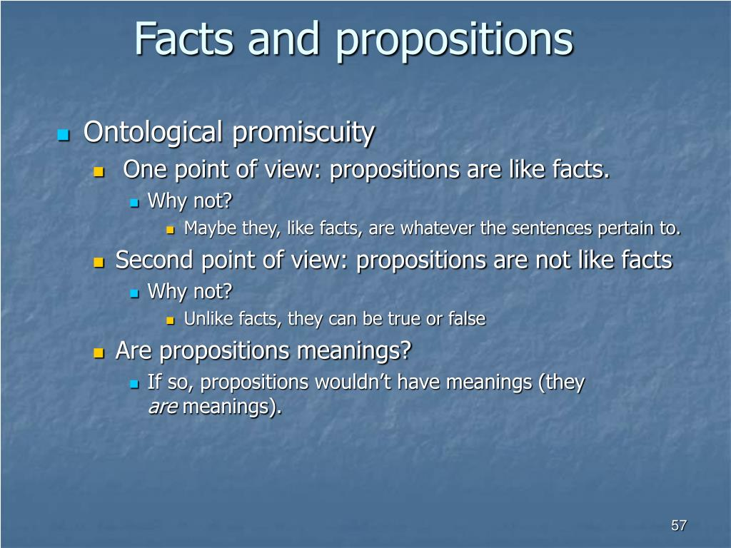 Facts and propositions