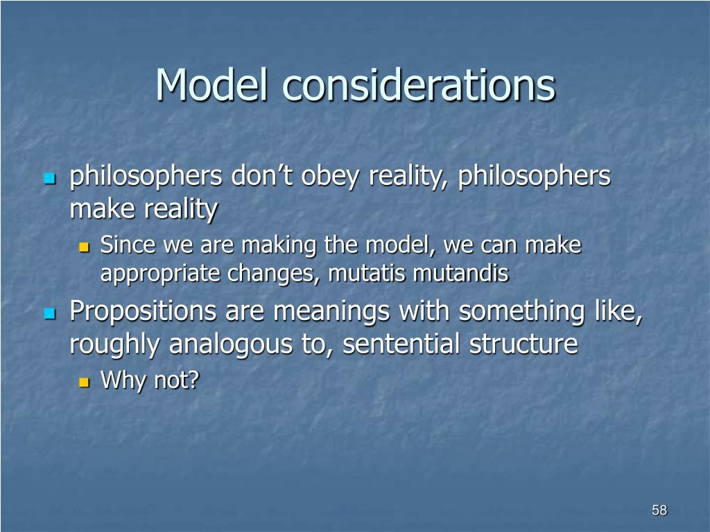 Model considerations