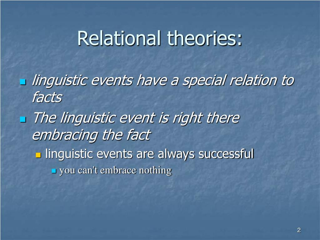 Relational theories: