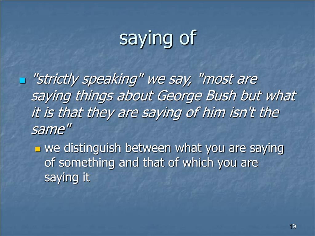 saying of