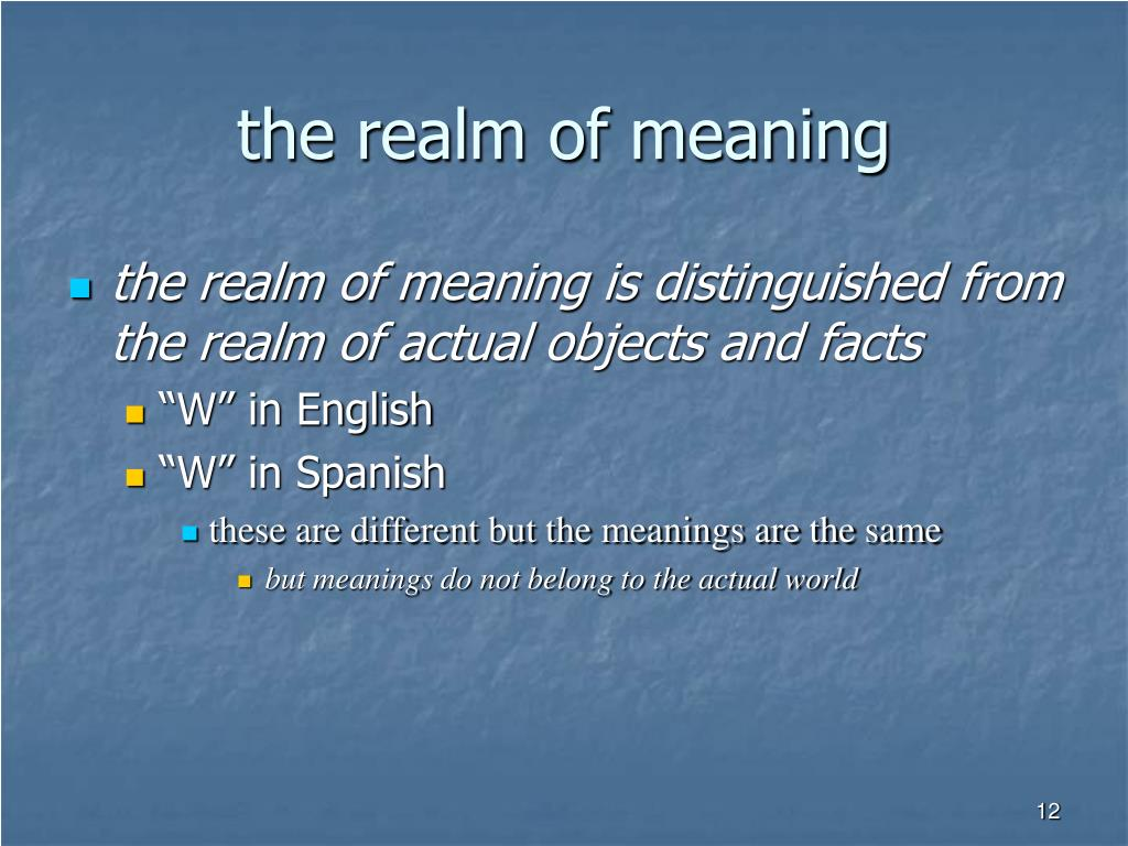 the realm of meaning