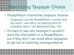 maximizing taxpayer choice