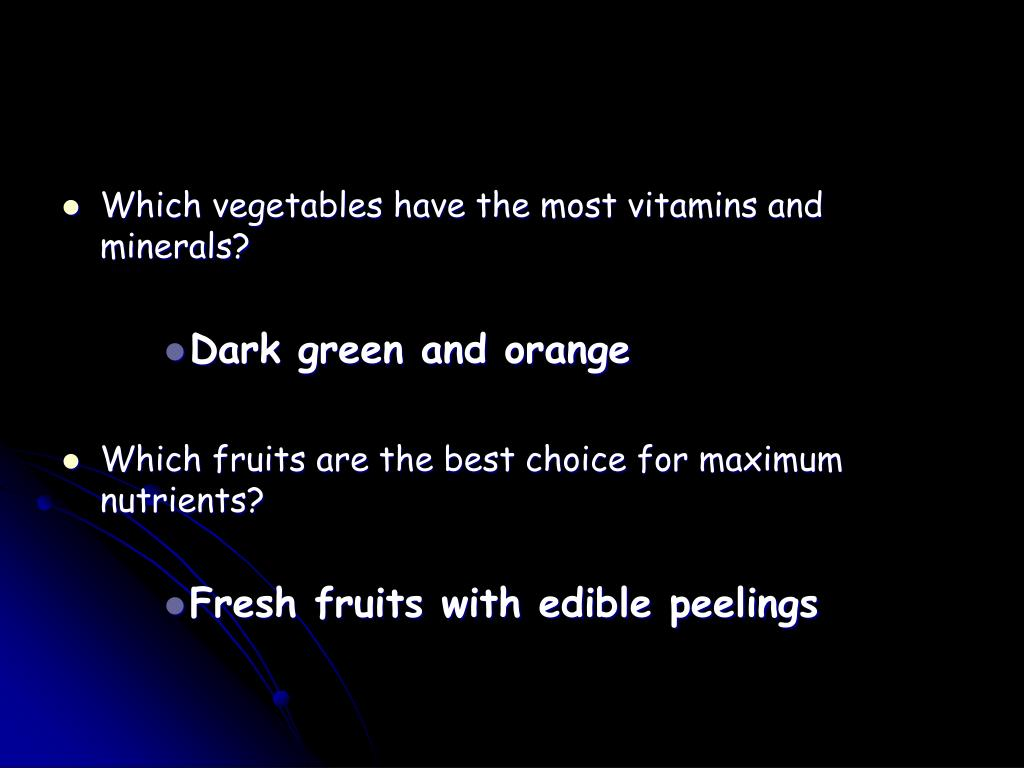 Which vegetables have the most vitamins and minerals?
