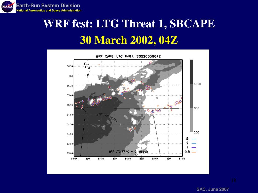 WRF fcst: LTG Threat 1, SBCAPE