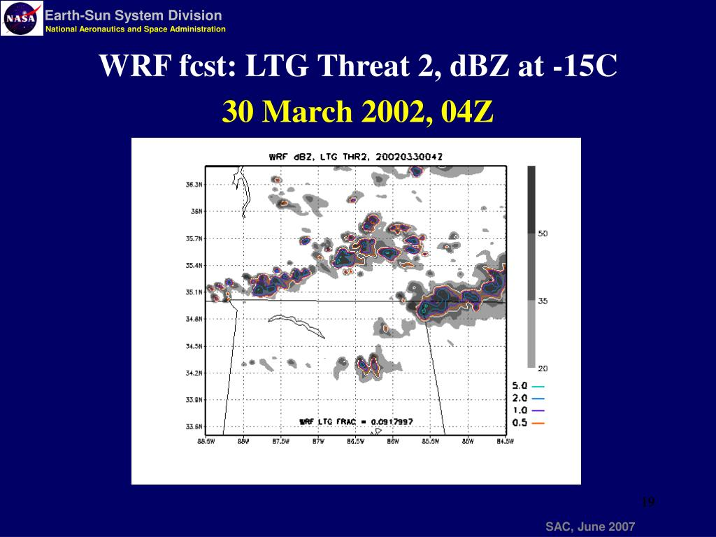 WRF fcst: LTG Threat 2, dBZ at -15C