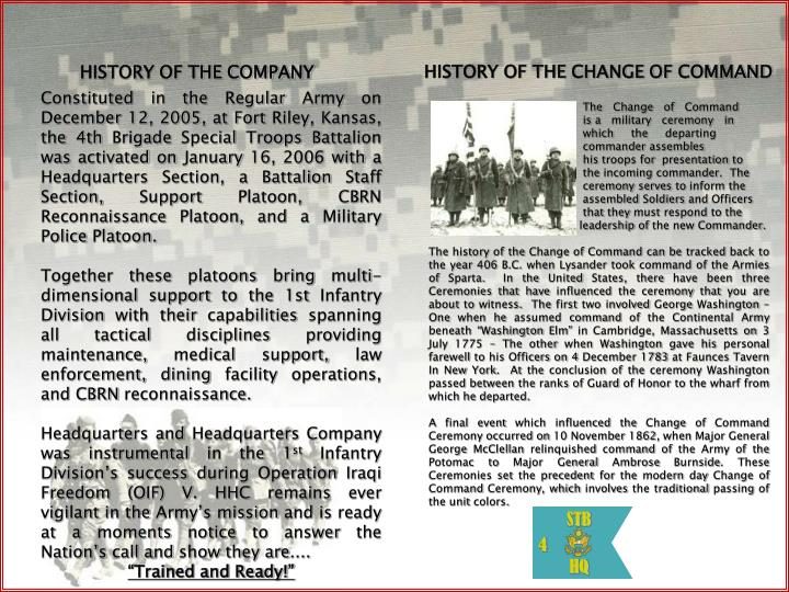 HISTORY OF THE CHANGE OF COMMAND
