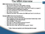 the mba interview