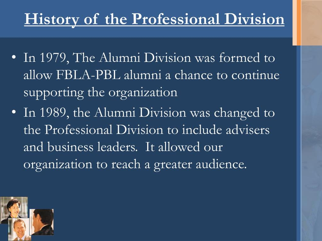 History of the Professional Division