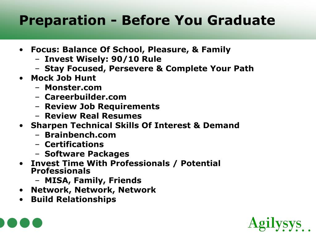 Preparation - Before You Graduate