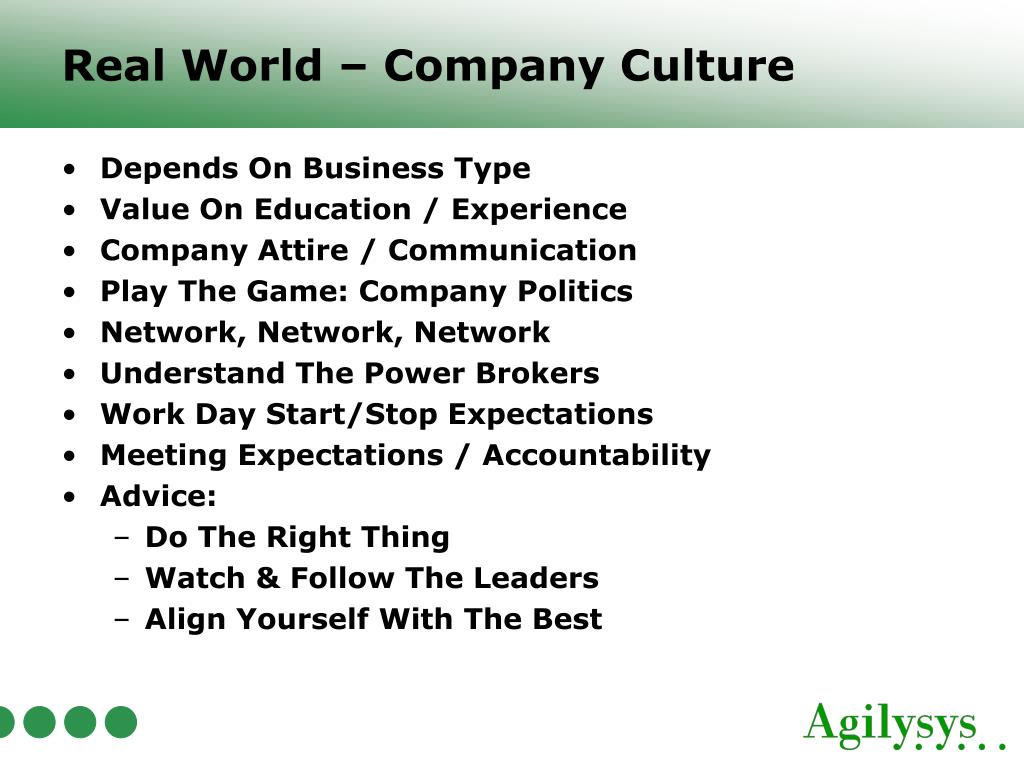 Real World – Company Culture