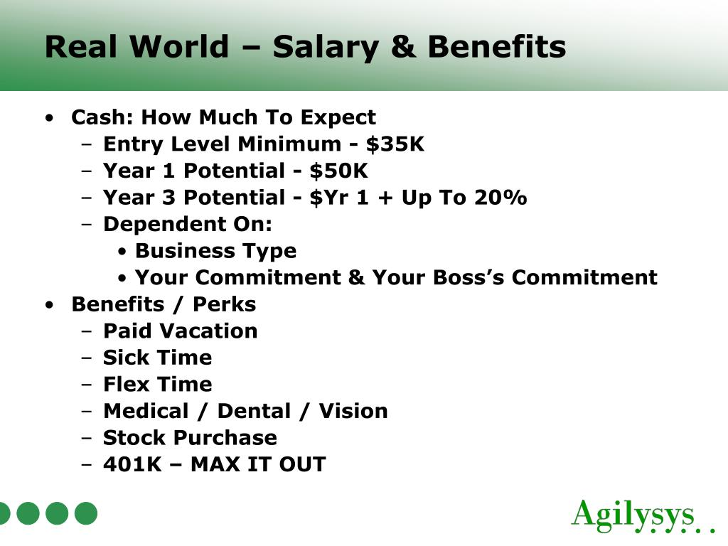 Real World – Salary & Benefits