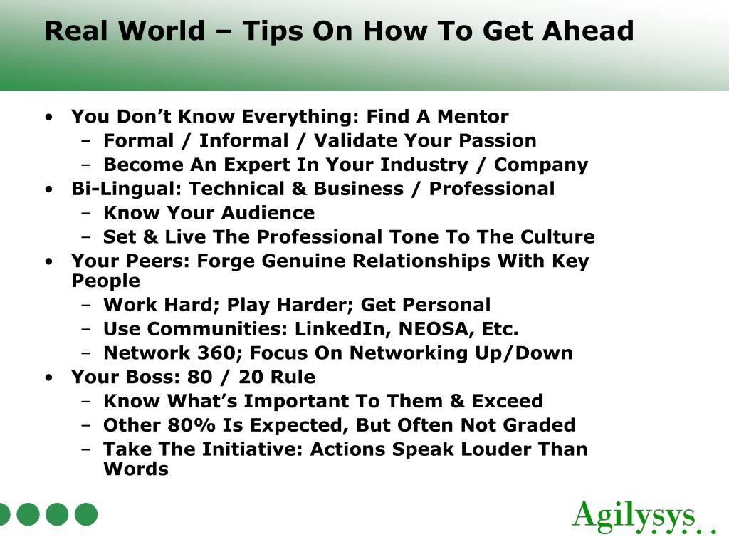 Real World – Tips On How To Get Ahead