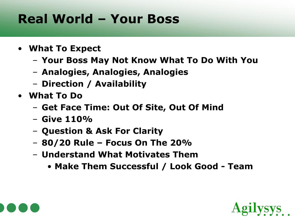 Real World – Your Boss