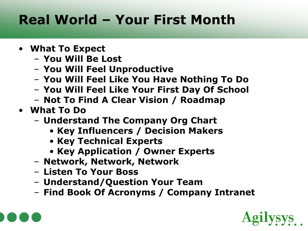 Real World – Your First Month
