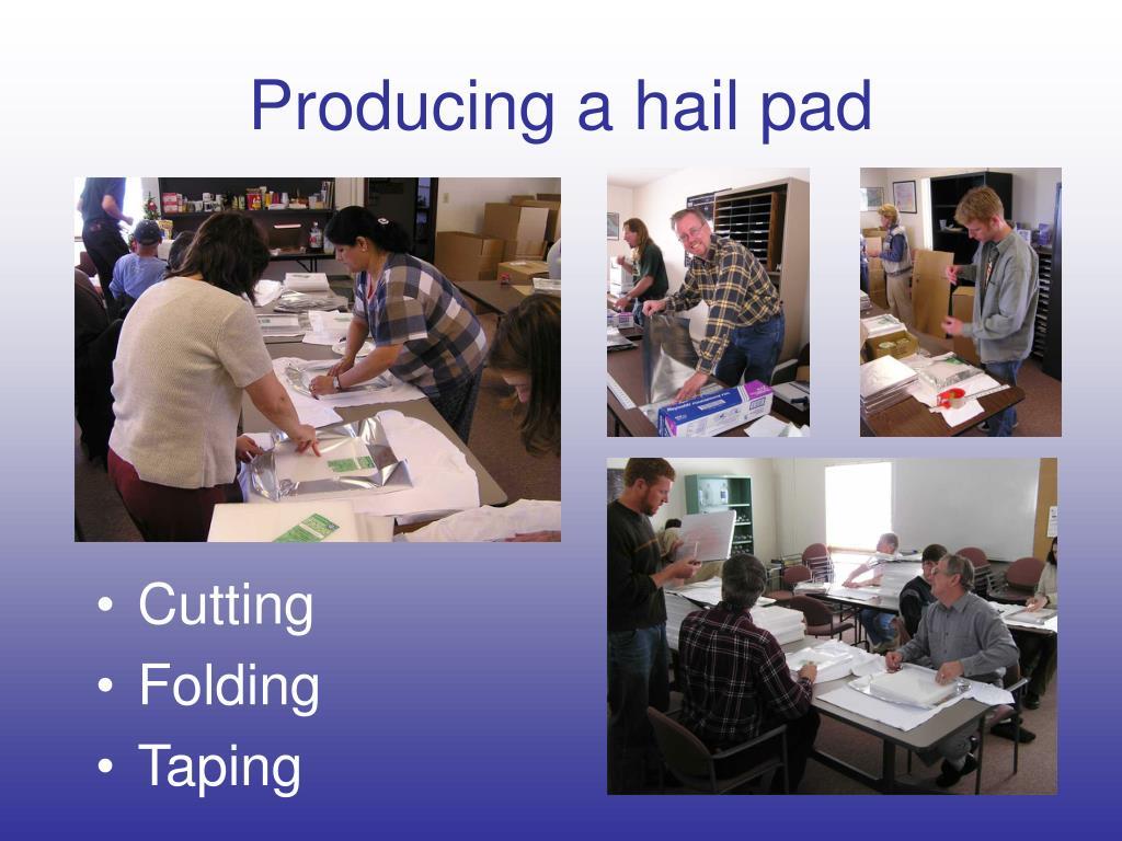 Producing a hail pad