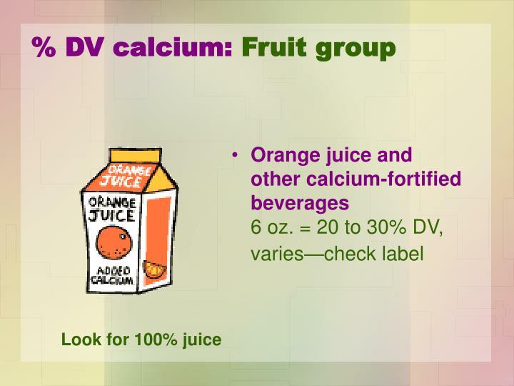 % DV calcium: