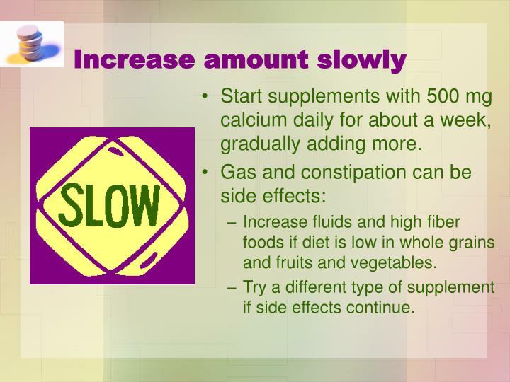 Increase amount slowly