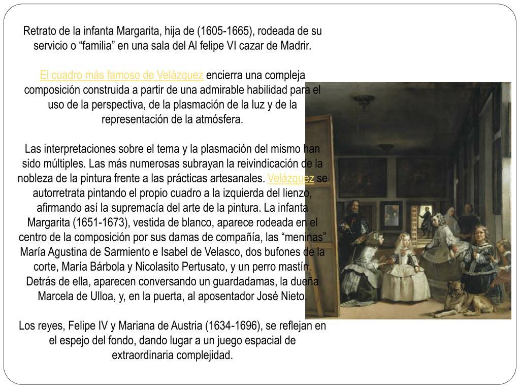 """Retrato de la infanta Margarita, hija de (1605-1665), rodeada de su servicio o """"familia"""" en una sala del Al felipe VI cazar de Madrir."""