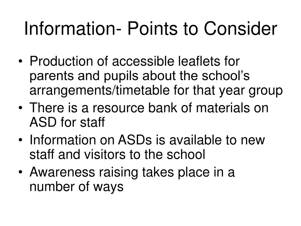 Information- Points to Consider