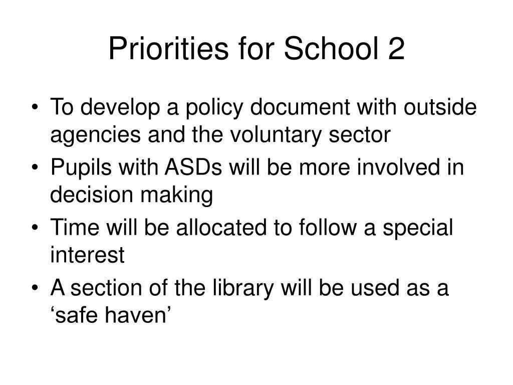 Priorities for School 2