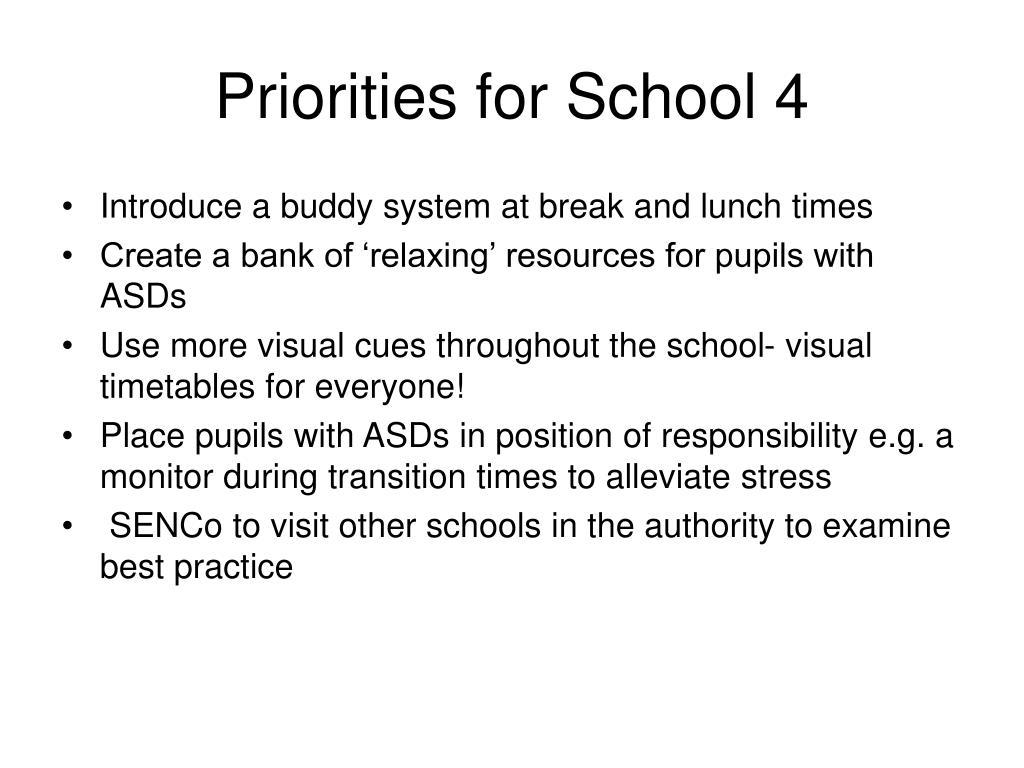Priorities for School 4