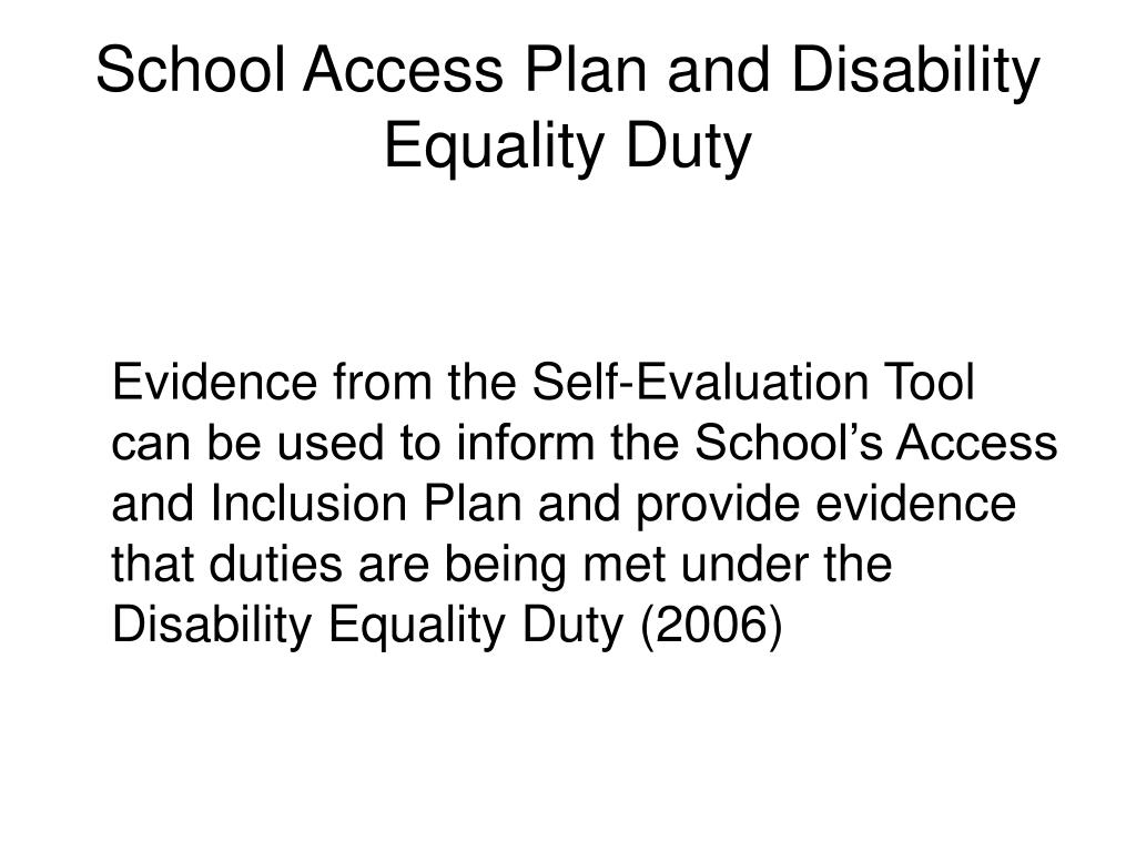 School Access Plan and Disability Equality Duty