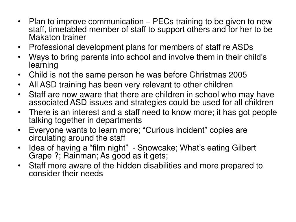 Plan to improve communication – PECs training to be given to new staff, timetabled member of staff to support others and for her to be Makaton trainer