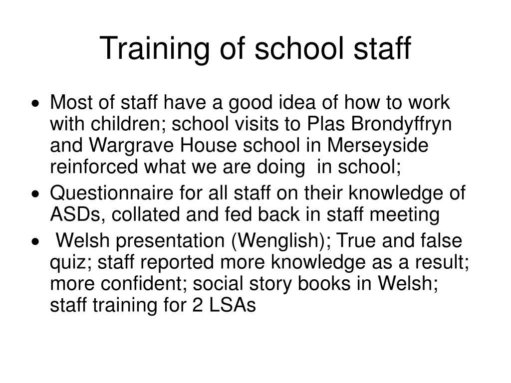 Training of school staff