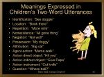 meanings expressed in children s two word utterances
