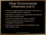 other environmental influences con t