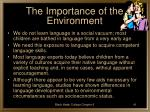 the importance of the environment