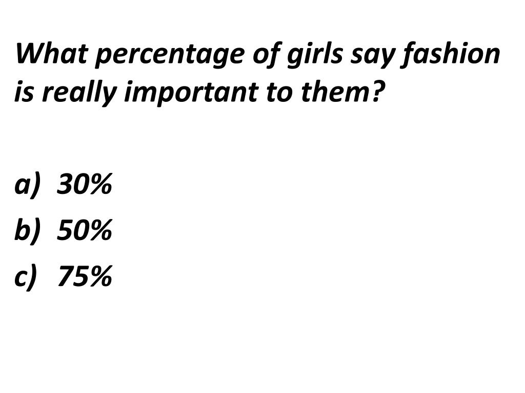 What percentage of girls say fashion is really important to them?