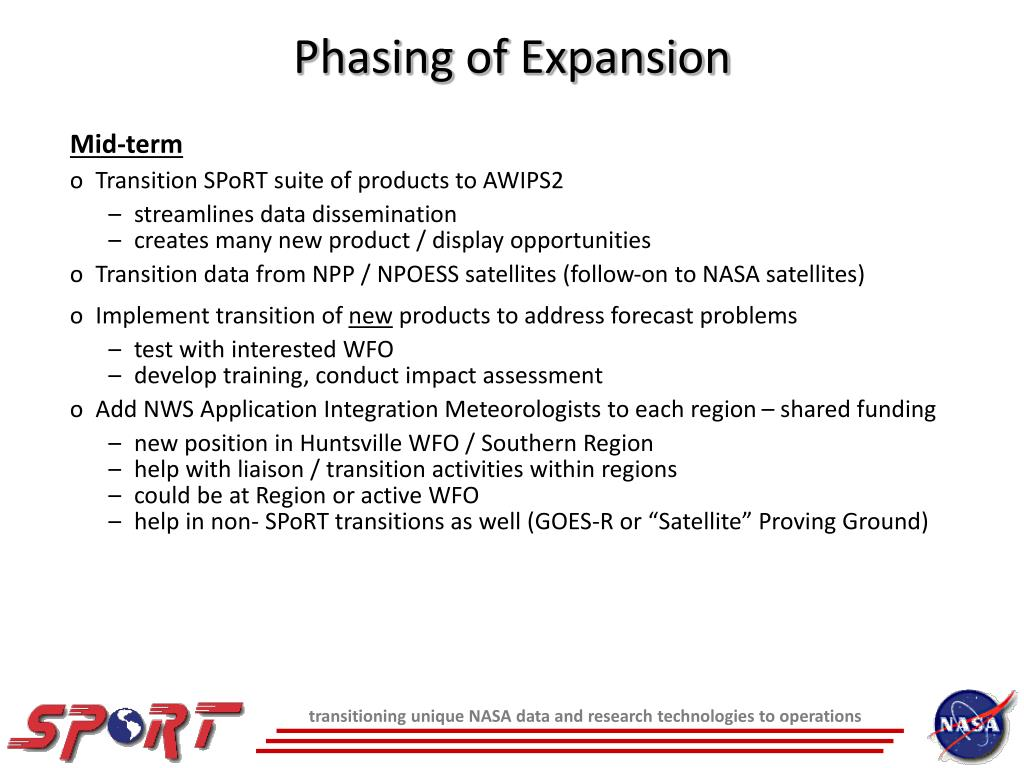 Phasing of Expansion