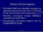 status of convergence